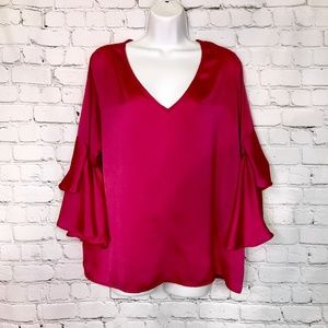 C Apparel Ruffled Sleeve Shiny Pink Top L